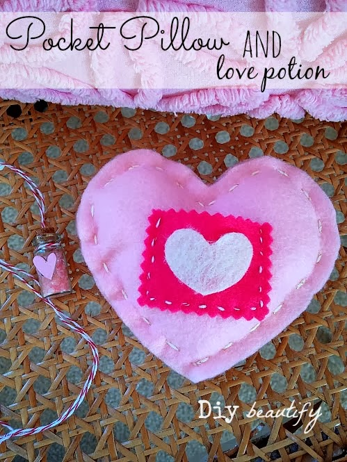 Heart Pocket Pillow & Love Potion www.diybeautify.com