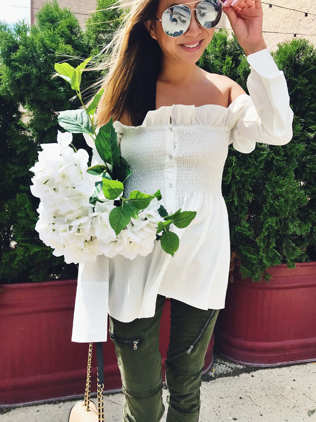 Ruffle White Smocked Top, How to Style an Off Shoulder Top, How to wear a white top, Chicago Spring style