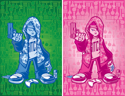 """Jesse"" Breaking Bad Print by Tracy Tubera - Blue Crystal Edition & Pink Edition"