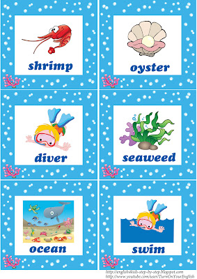 sea animals flashcards for esl teaching
