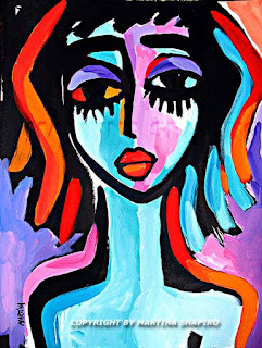 Purple Girl original painting in ink and acrylic on paper by artist Martina Shapiro