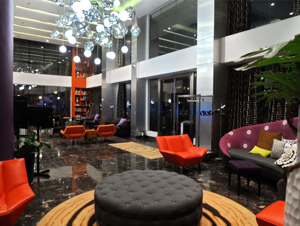 The Hotel Lobby At Nighttime