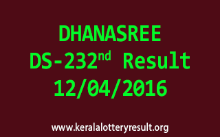 DHANASREE DS 232 Lottery Result 12-4-2016