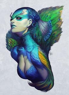 Ilustración de video juegos Mujer bonita pavo real