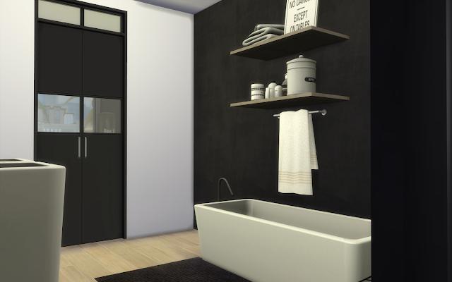 salle de bain noir et blanc sims 4