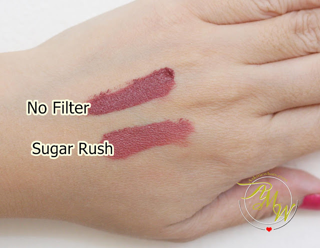 a swatch photo of Sugar Tint Lip and Cheek Tint Review in Sugar Rush and No Filter.