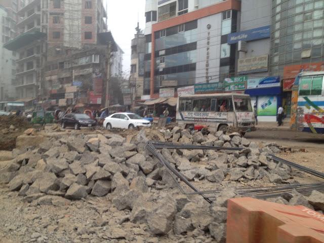 Moghbazar Flyover road block