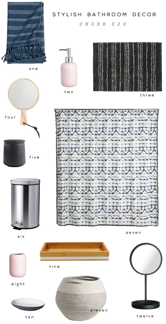 Stylish Bathroom Accessories Under $20