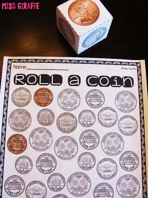Money games to practice coin identification that are differentiated and fun for first grade and kindergarten