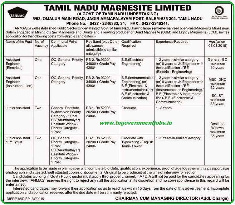 Tamil Nadu Magnesite Ltd (TANMAG) Recruitments (www.tngovernmentjobs.in)