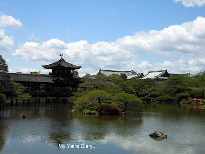 Old buildings at the Heian Jingu shrine garden, Kyoto in Japan