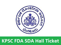 KPSC FDA SDA Hall Ticket