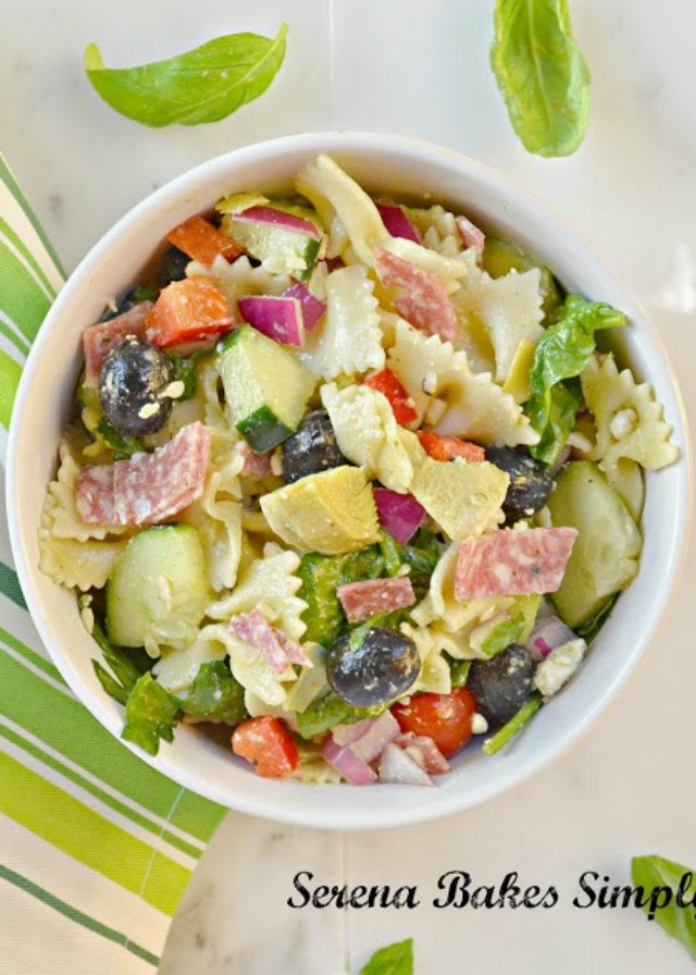 Italian Antipasto Pasta Salad With Basil Vinaigrette is a summertime favorite recipe for dinner or to take to a barbecue from Serena Bakes Simply From Scratch.