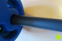 Stange mit Scheibe: Langhantel GEPOLSTERT inkl. Federverschluss / Gewichtsvarianten 2kg 4kg 6kg 8kg 10kg 12kg 14kg 18kg 20kg in unterschiedlichen Farben