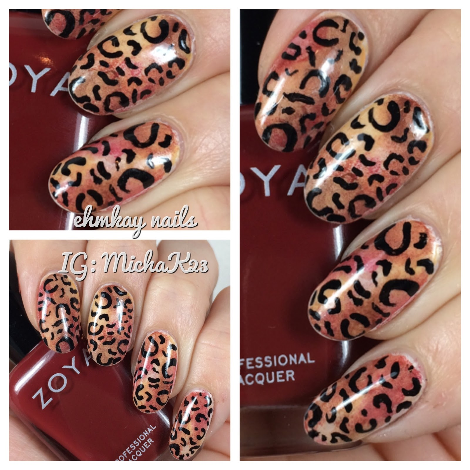 ehmkay nails: Sponged Leopard Print Nail Art