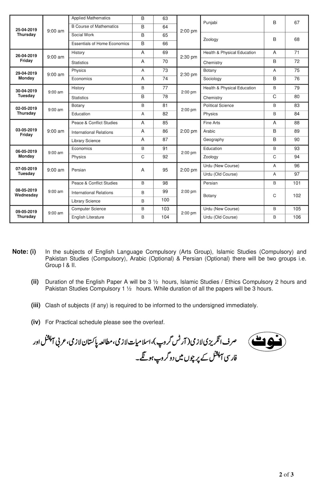 Sargodha University BA BSc Date Sheet 2019 | UOS Download Private