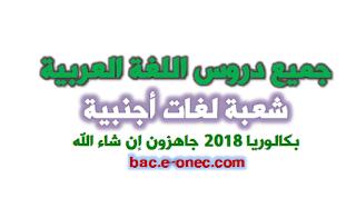 جميع دروس مادة اللغة العربية لبكالوريا 2018 شعبة اداب ولغات اجنبية