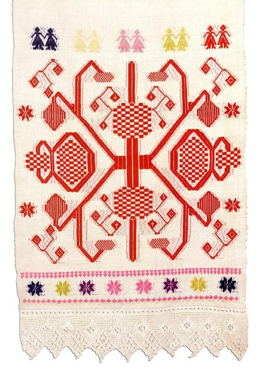 Ritual towel from Belarus decorated with embroidery and crochet