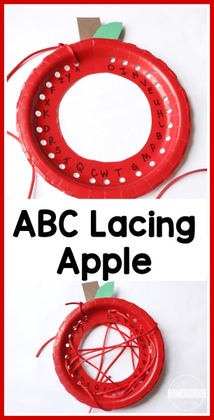 Paper Plate Alphabet Lacing Apple