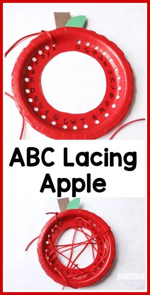 Paper Plate Alphabet Lacing Apple