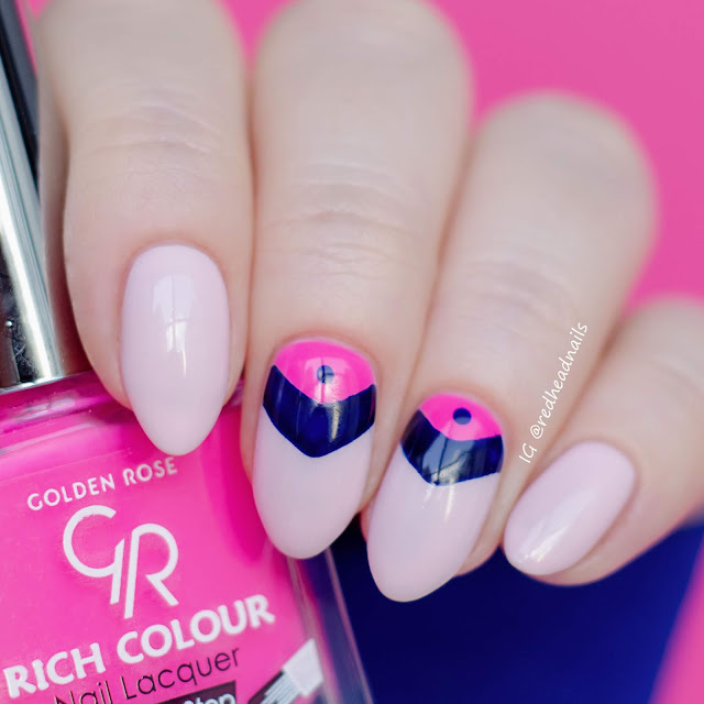 Golden Rose geometric nail art