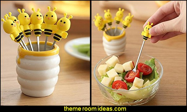 Bee Fruit Forks  bee themed party - bumble bee decorations - Bumble Bee Party Supplies - bumble bee themed party - Pooh themed birthday party - spring themed party - bee themed party decorations - bee themed table decorations - winnie the pooh party decorations - Bumblebee Balloon -  bumble bee costumes