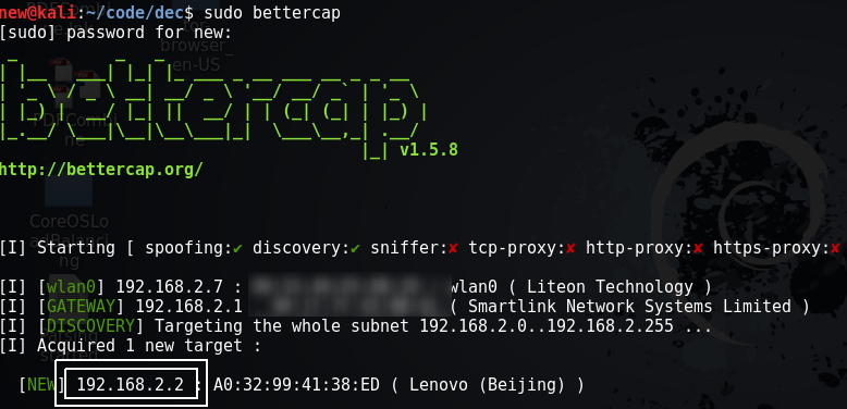 Bettercap : MITM attack for sniffing traffic and passwords - Kali
