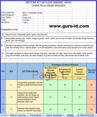 gambar aplikasi menentukan kkm kurikulum 2013 excel revisi 2018
