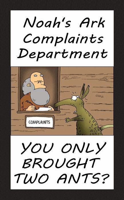 Funny Noah's Ark Complaints Department - You only brought two ants