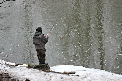 January 23, 2018 Arriving at work to watch the young men going down to the river to fish.