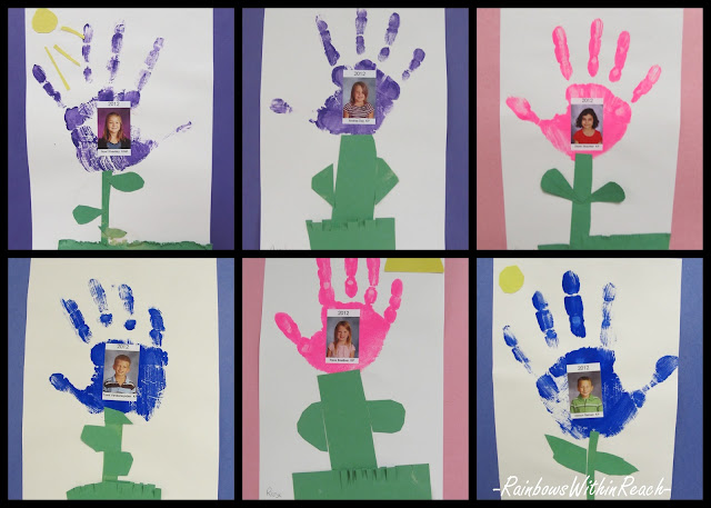 photo of: handprint paintings for kindergarten, Mother's Day art project, preschool craft for Mother's Day