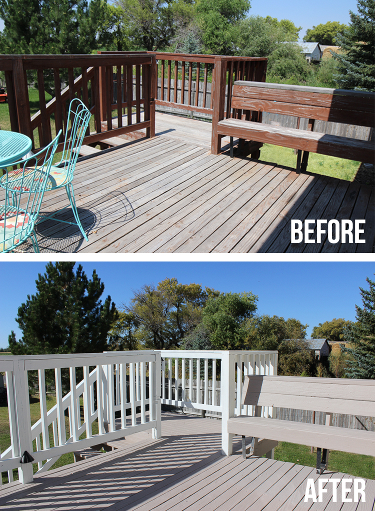 Transform an old wood deck with this amazing product from Rustoleum