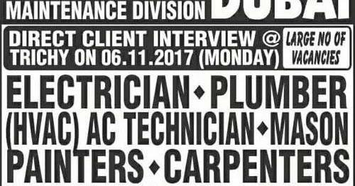 Maintenance Jobs In Dubai Walk In Interview In Trichy