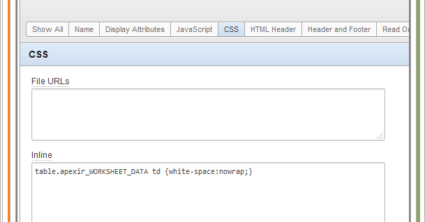 Set Column Data No-Wrap for Oracle Apex Interactive Report | What I