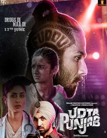Poster Of Udta Punjab 2016 Hindi 160MB BRRip HEVC Mobile ESubs Watch Online Free Download Worldfree4u