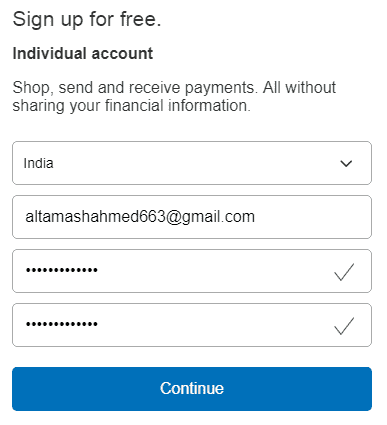 Sign Up for free Individual PayPal Account