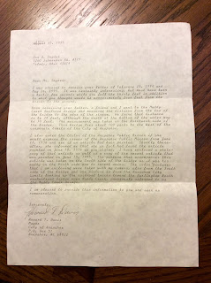 Climbing My Family Tree: Letter from Arapahoe NE mayor to Don Snyder, July 31, 1995