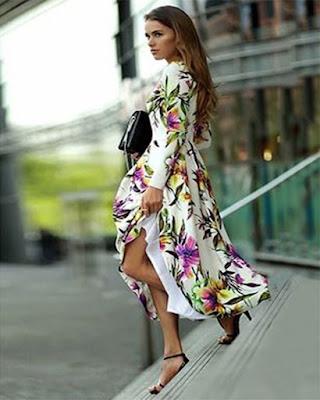 vestidos con flores largo blanco