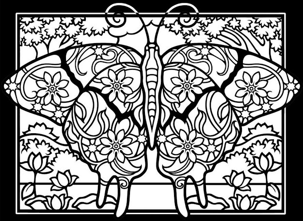 Free Coloring Page Coloringadultdifficultbutterfliesblackbackground  Coloring