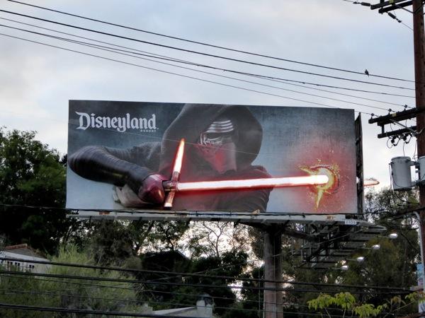 Star Wars Kylo Ren 3D lightsaber Disneyland billboard