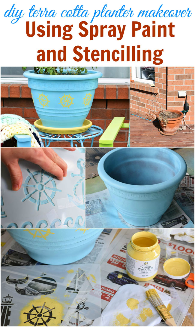 diy terra cotta planter makeover using spray paint and stencilling - #diy #crafts #paint