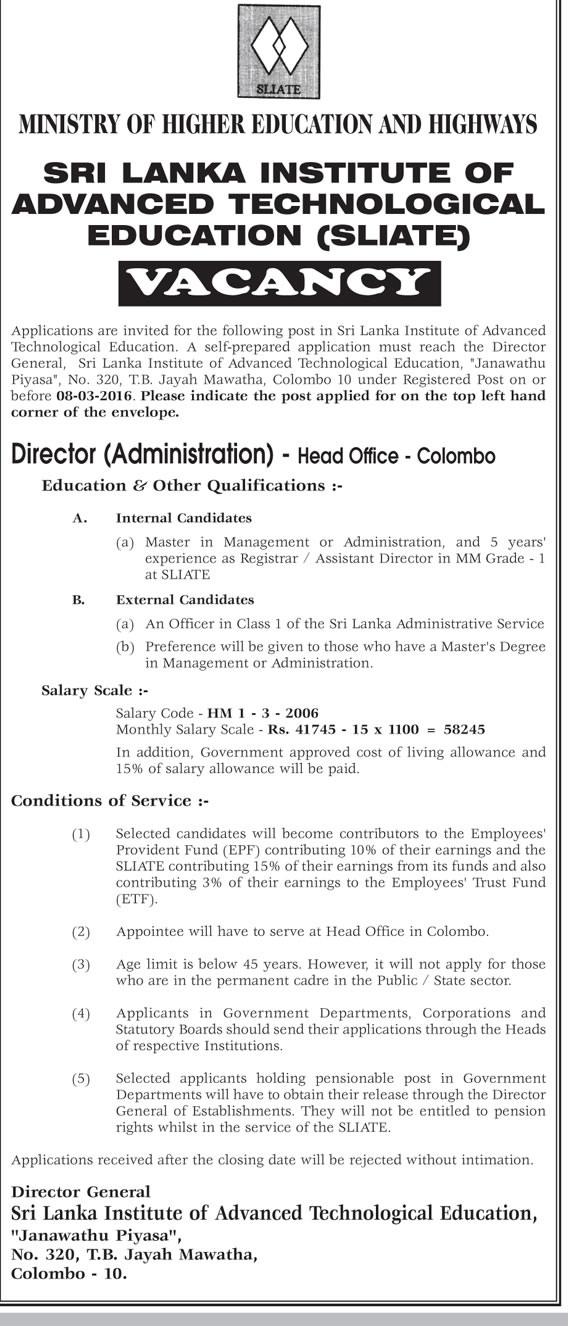 Vacancies - Director (Administration) - Sri Lanka Institute of Advanced Technological Education - Ministry of Higher Education and Highways