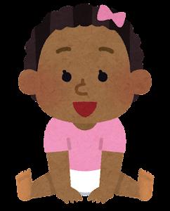 赤ちゃんのイラスト(黒人・女)