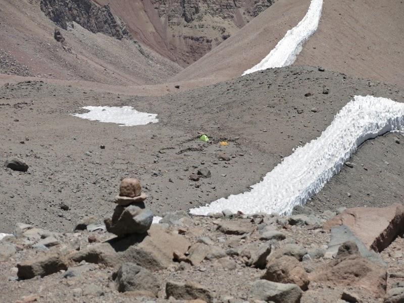 Das Lager auf 4400m von oben