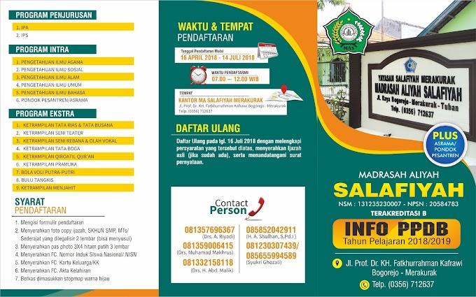 Brosur Penerimaan Peserta Didik Baru MA Salafiyah Merakurak TP. 2018/2019