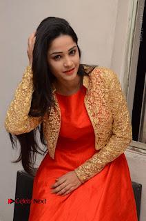 Telugu Actress Divya Nandini Stills in Orange Sleeveless Gown at Chennai Chaitrama Movie le Launch Event  0108.JPG