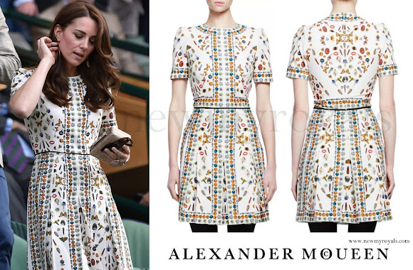 Kate Middleton wore Alexander McQueen Obsession Print Short Sleeve Dress