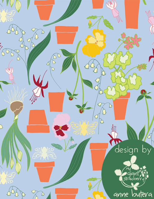 surface pattern design, repeat patterns, fabric design, gardening, Anne Butera, My Giant Strawberry