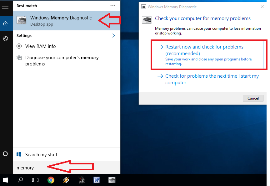 fix windows 10 memory problems