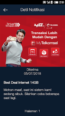 Paket internet Telkomsel  lewat MyTelkomsel